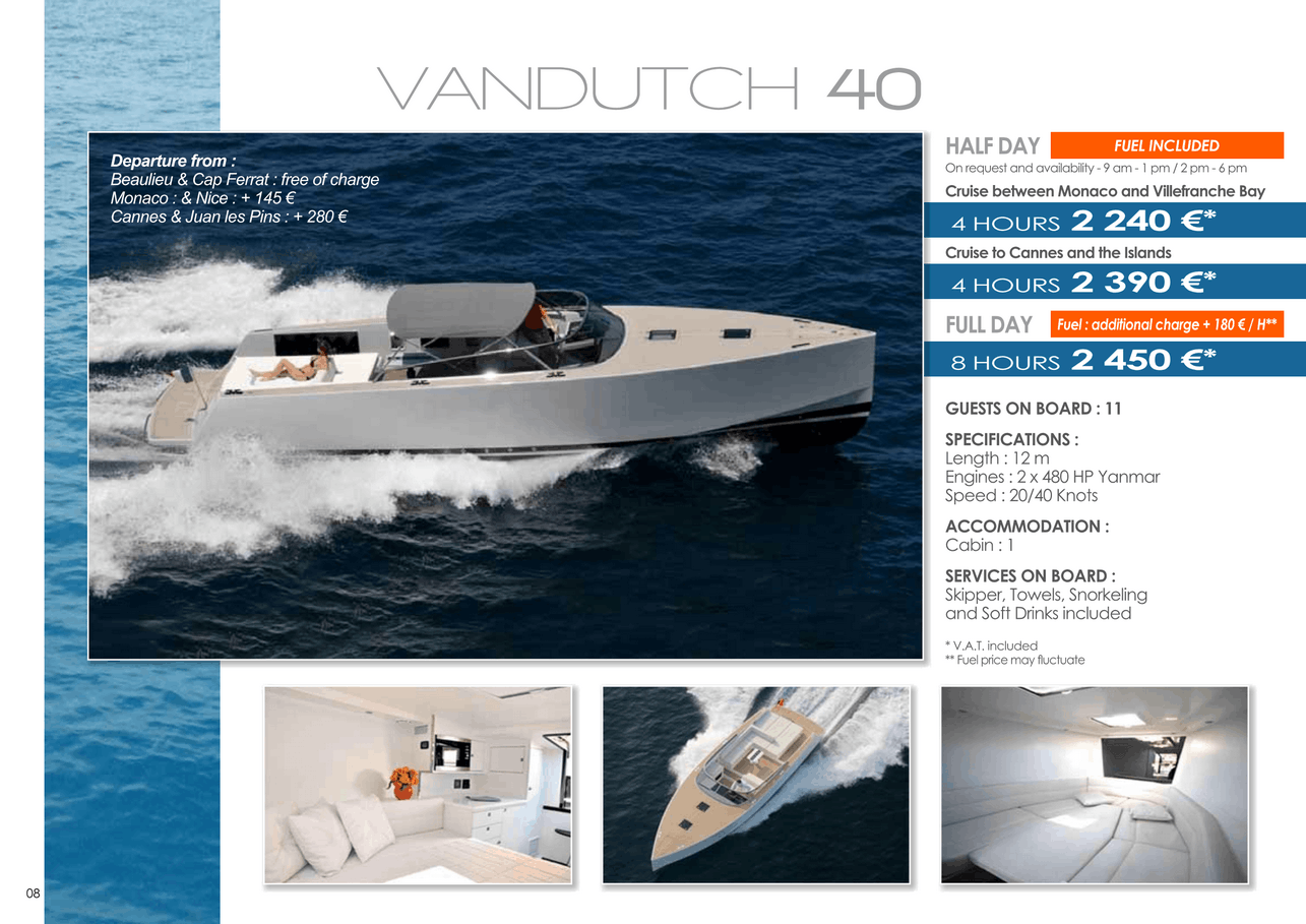 16 motor yachts for a day charter at sea on the French Riviera, Monaco and Saint Tropez 13