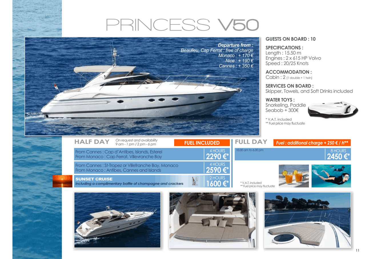 16 motor yachts for a day charter at sea on the French Riviera, Monaco and Saint Tropez 22