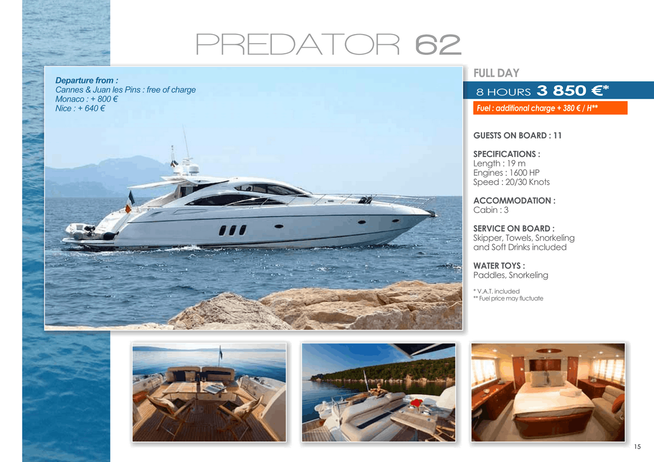 16 motor yachts for a day charter at sea on the French Riviera, Monaco and Saint Tropez 34
