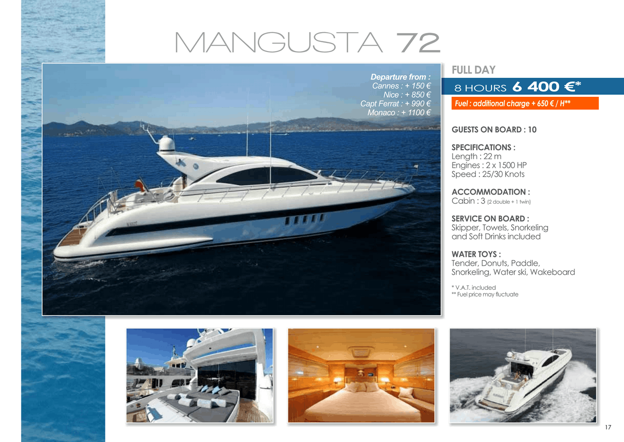 16 motor yachts for a day charter at sea on the French Riviera, Monaco and Saint Tropez 40