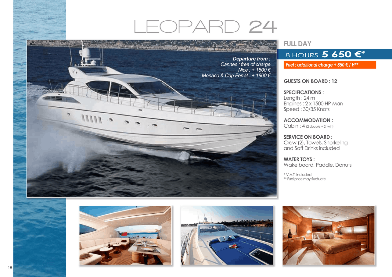 16 motor yachts for a day charter at sea on the French Riviera, Monaco and Saint Tropez 43