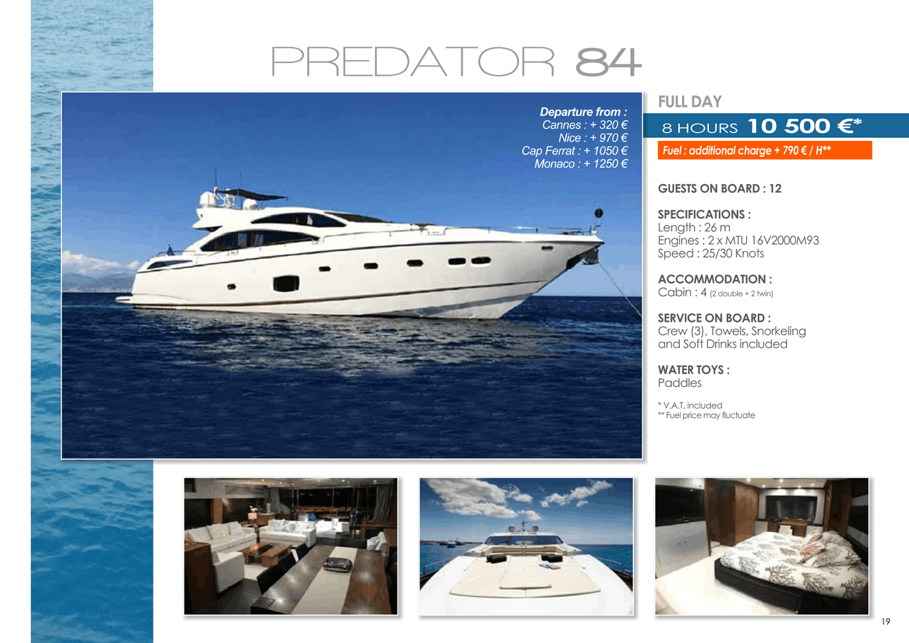 16 motor yachts for a day charter at sea on the French Riviera, Monaco and Saint Tropez 46