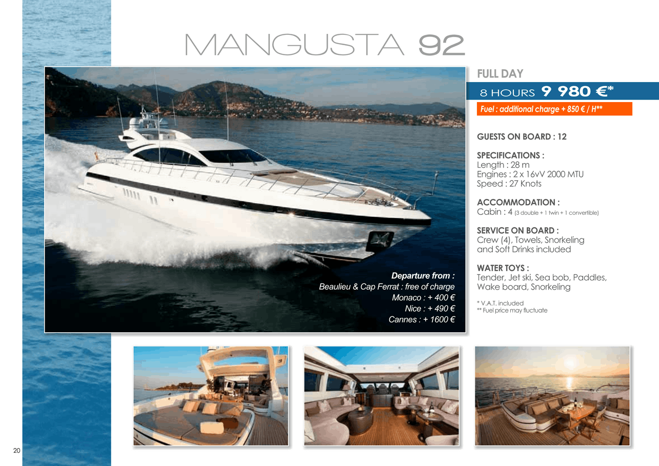 16 motor yachts for a day charter at sea on the French Riviera, Monaco and Saint Tropez 49
