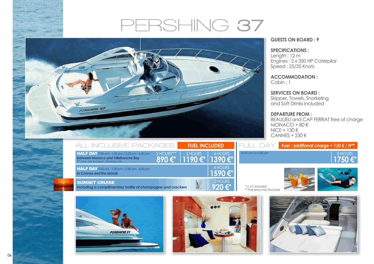 16 motor yachts for a day charter at sea on the French Riviera, Monaco and Saint Tropez 9